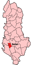 Map showing Mallakastër within Albania