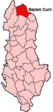 Bản đồ thể hiện vị trí của xã ở Tropojë, Albania