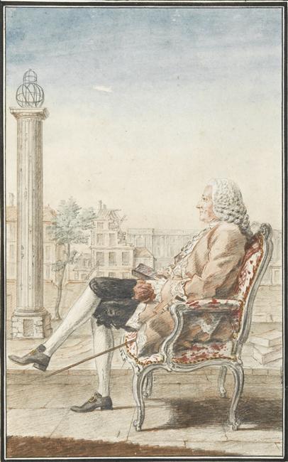 Louis Petit de Bachaumont in a ''[[fauteuil