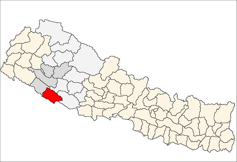 Lage des Distriktes Banke (rot) in Nepal, die Verwaltungszone Bheri ist dunkelgrau, die Entwicklungsregion Mittelwest ist hellgrau markiert.