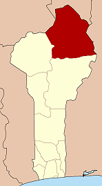 Map of Benin highlighting Alibori department