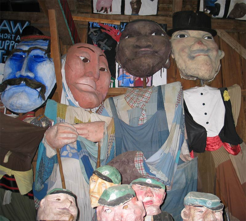 Puppets found in the Bread & Puppet Museum in Glover, Vermont