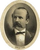 Drawn portrait of Cyrille Dion, a Caucasian, wearing an old-fashioned tuxedo and sporting a waxed handle-bar mustache.