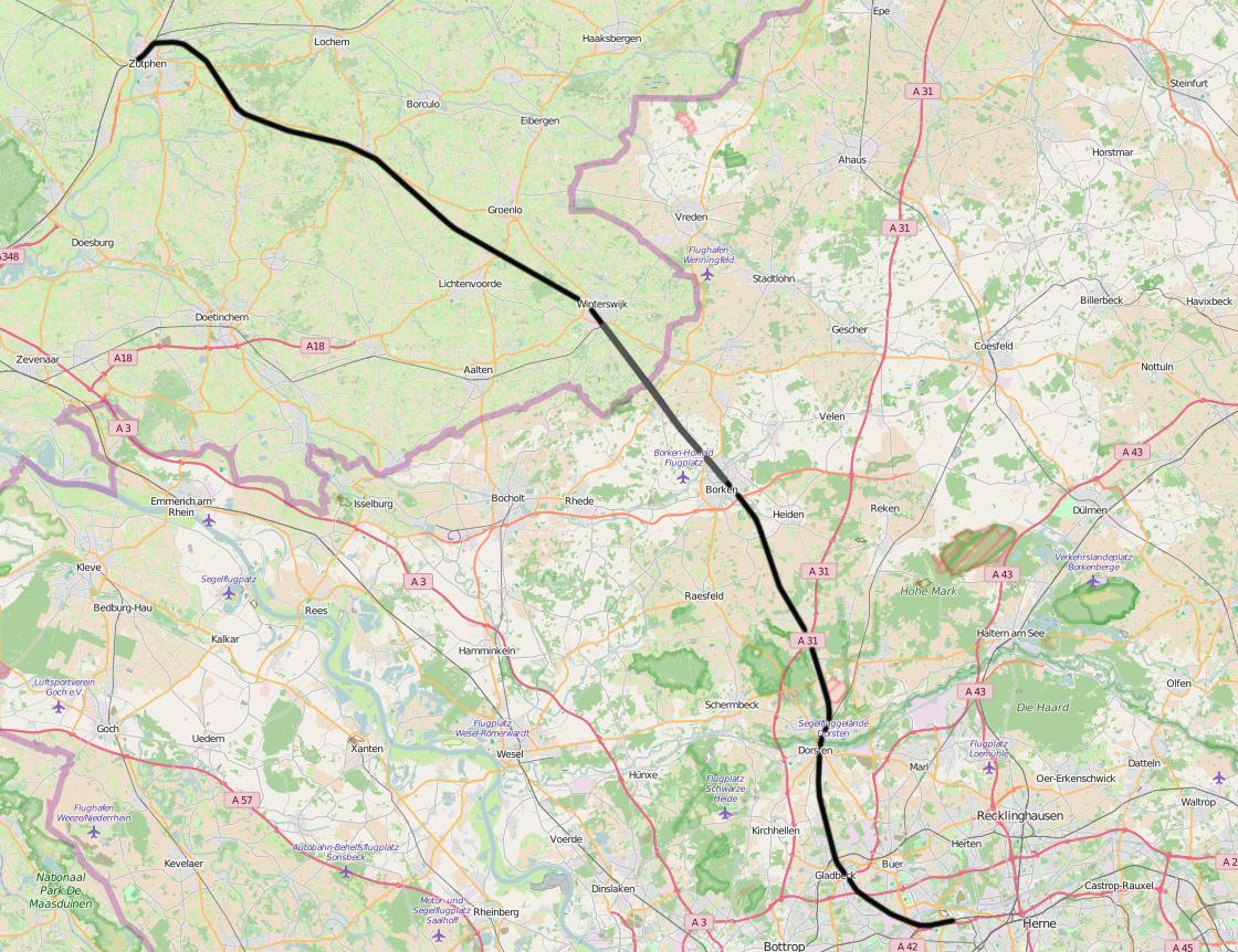 Bahnlinie Gelsenkirchen-Bismarck nach Zutphen