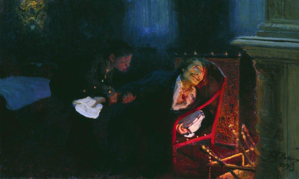Gógol quemando el manuscrito de la segunda parte de Almas muertas, Ilya Repin, 1909.