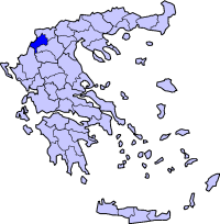 Location of Kastoria Prefecture in Greece
