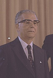 Joaquin Balaguer, puppet president during the dictatorship of Trujillo (1960-1962), and democratically elected president of the country for 22 years (1966-1978 & 1986-1996). Joaquin Balaguer 1977.jpg