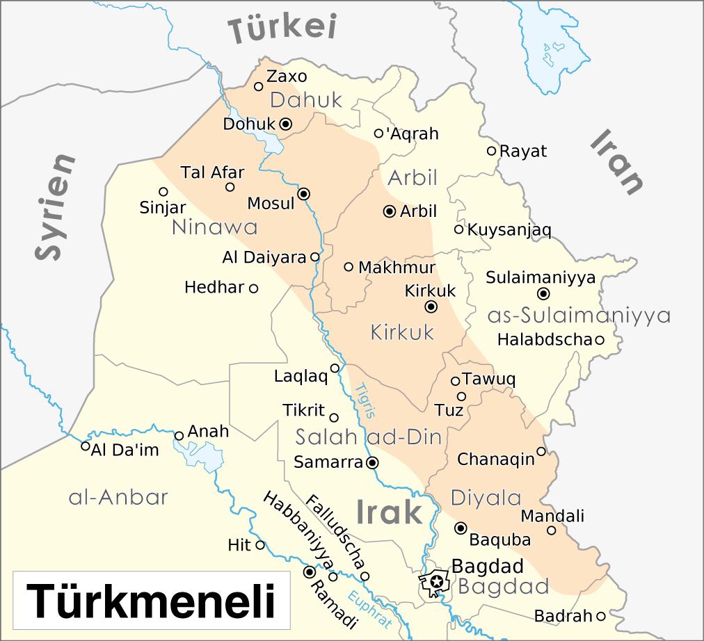 Karte Syrien Irak.Turkmenen Irak Wikipedia