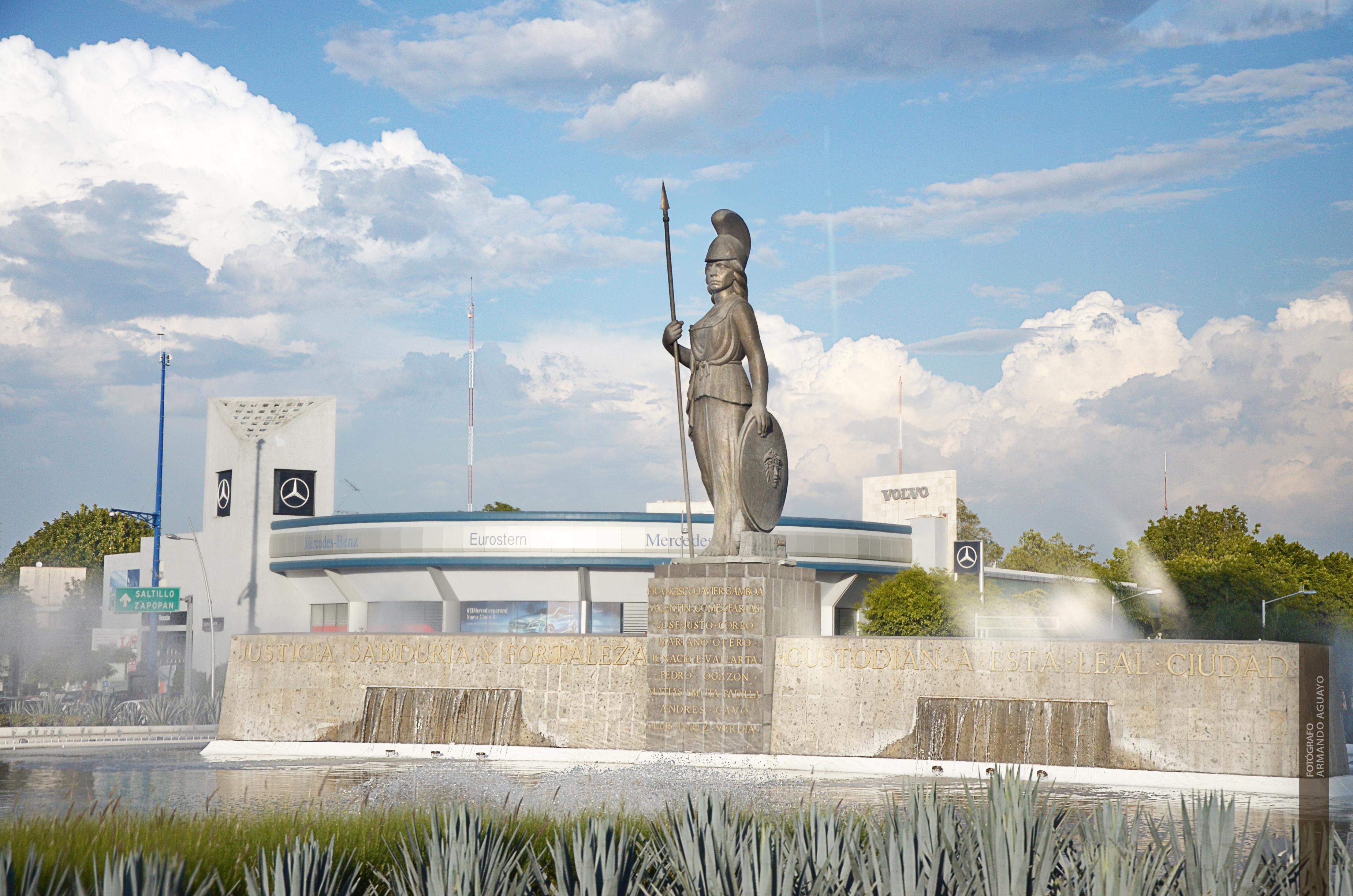 Vista de la fuente de La Minerva en Guadalajara