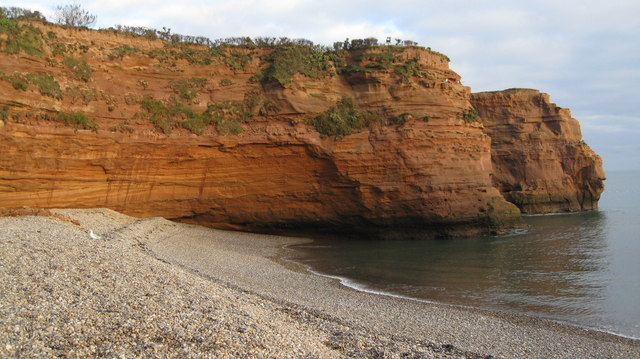Ladram Bay - red sand stone cliffs - geograph.org.uk - 638941
