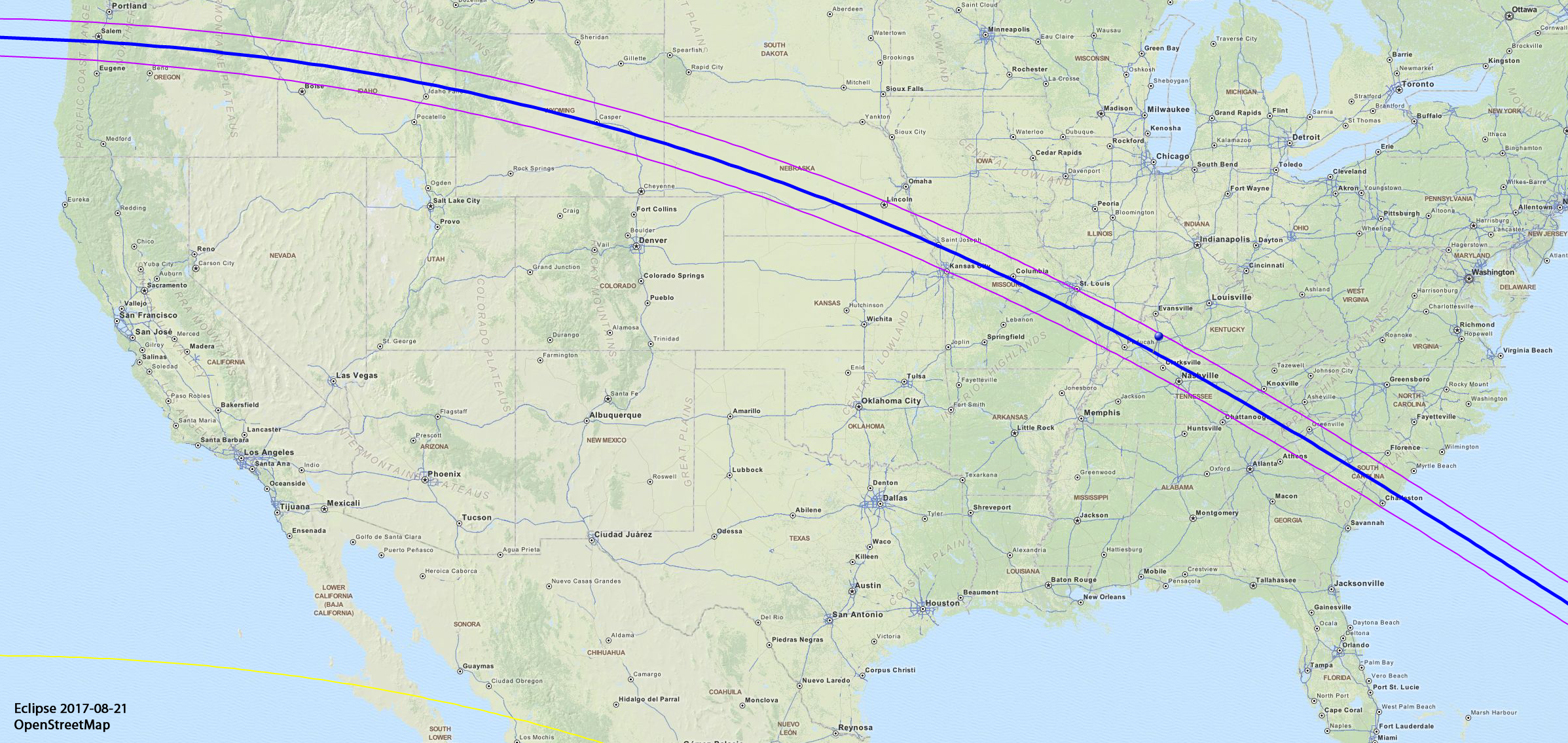 A map showing the path of the total eclipse of the sun in August 2017.