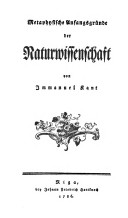 <i>Metaphysical Foundations of Natural Science</i> book by Immanuel Kant