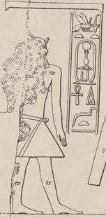 Drawing of a damaged relief showing the profile of a man standing, wearing the royal nemes, his name written in hieroglyphs next to him.