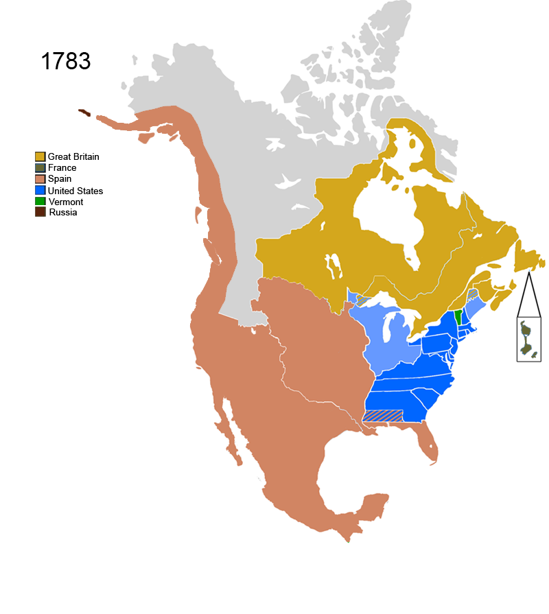 North America Map - Us map 1783 blank