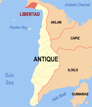 Map of Antique showing the location of Libertad