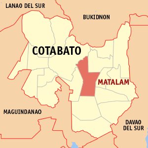 Map of Cotabato showing the location of Matalam