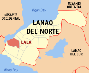Map of Lanao del Norte showing the location of Lala