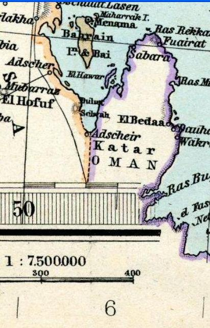 Qatar in an 1891 Adolf Stieler map Qatar in Stielers Handatlas 1891 59.JPG