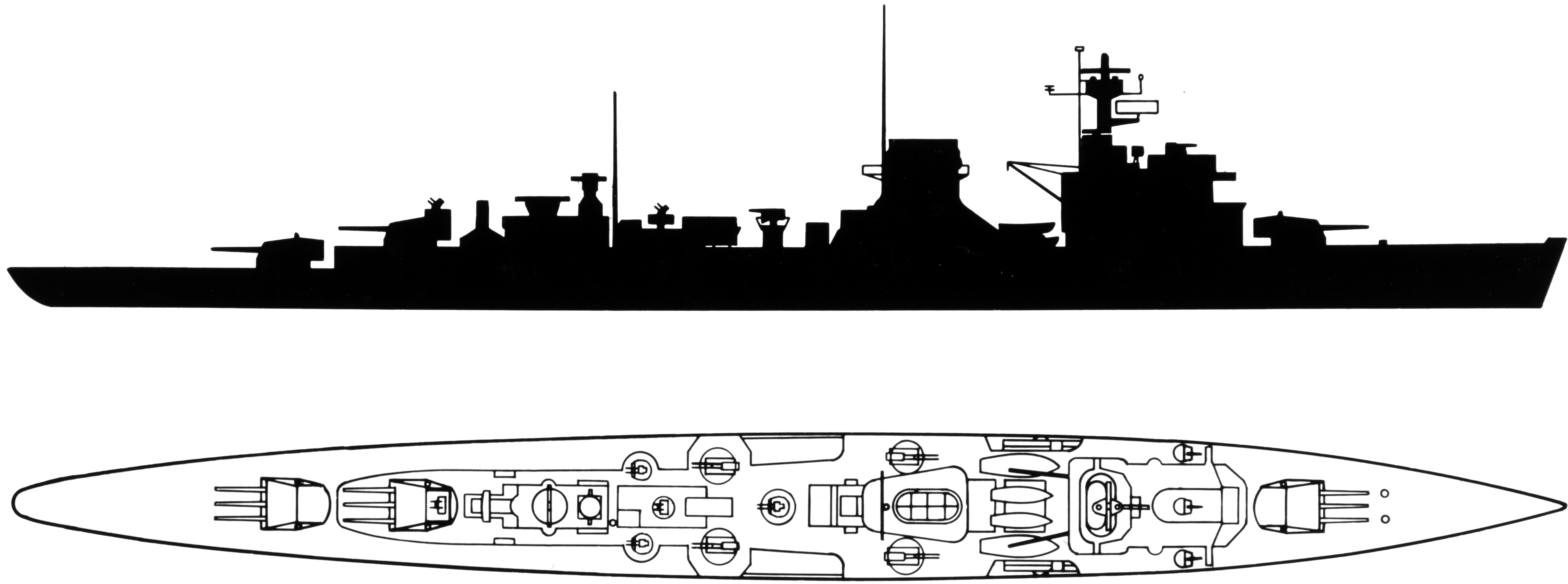 File:Recognition silhouette of the Soviet light cruiser ...