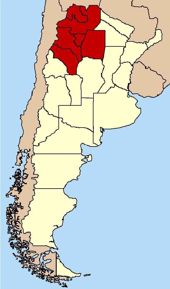 Ubicación de la región con La Rioja incluida