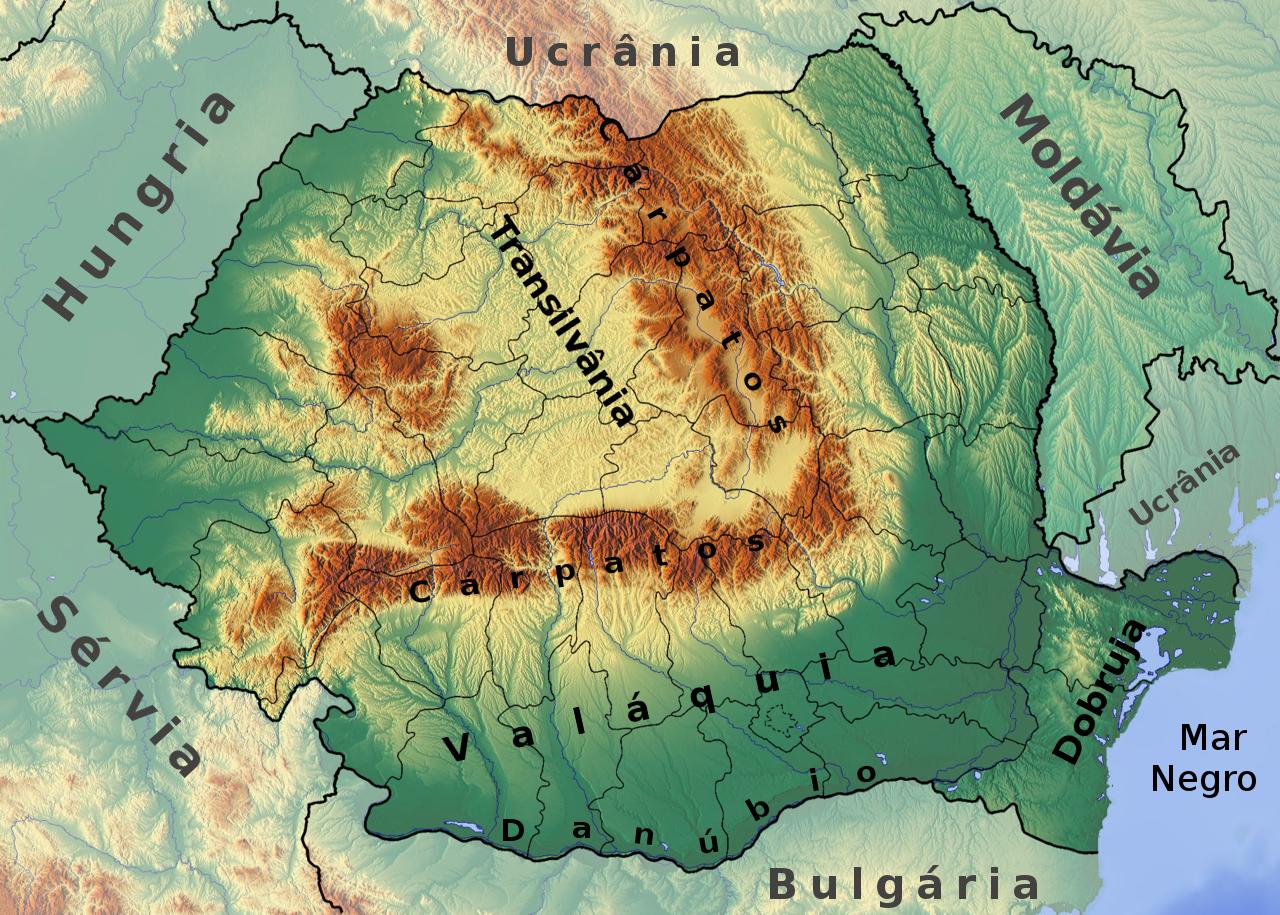 Romania location map Topographic
