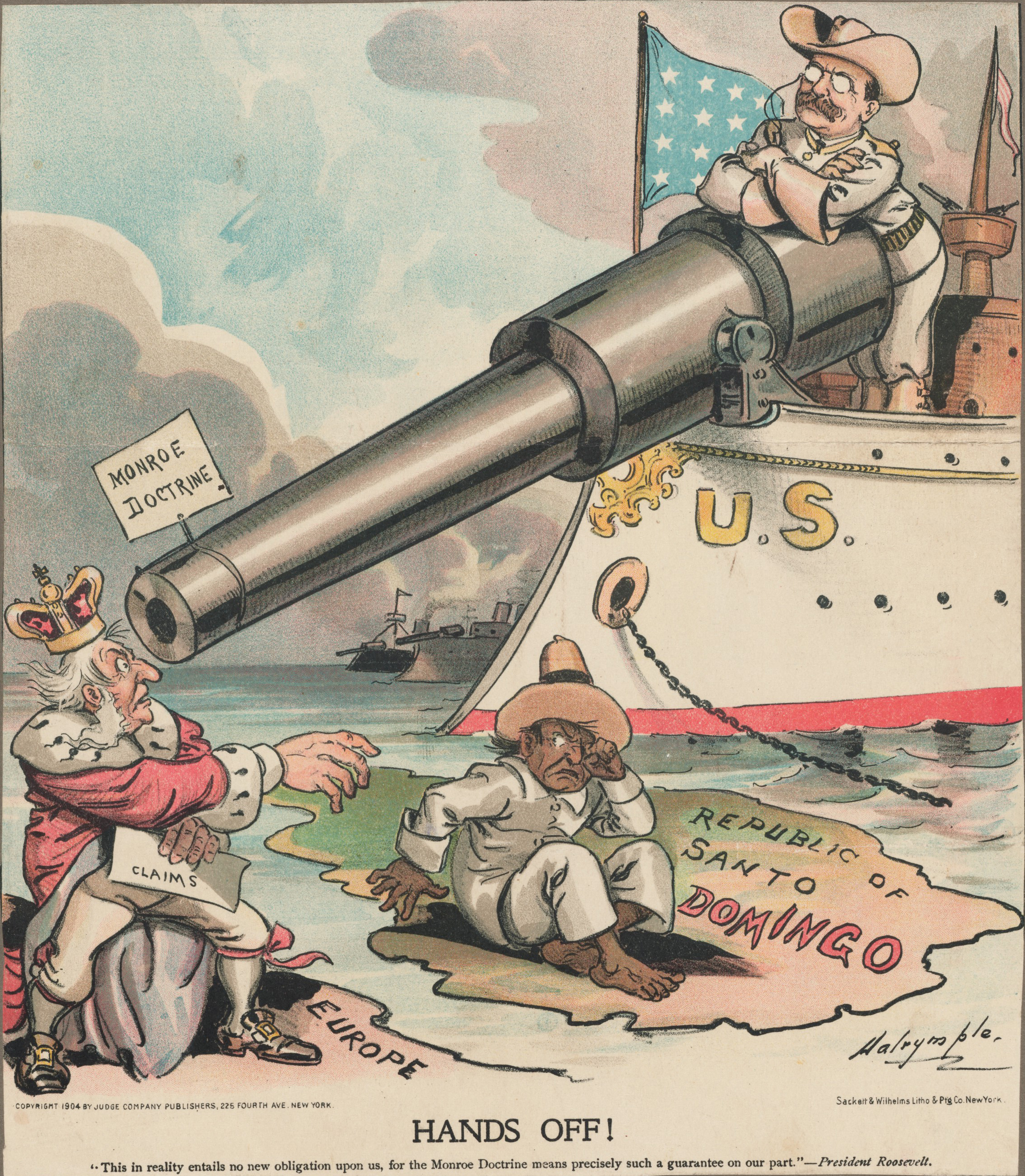 This political cartoon depicts Theodore Roosevelt's opposition to European influence in the Dominican Republic. Roosevelt monroe Doctrine cartoon.jpg
