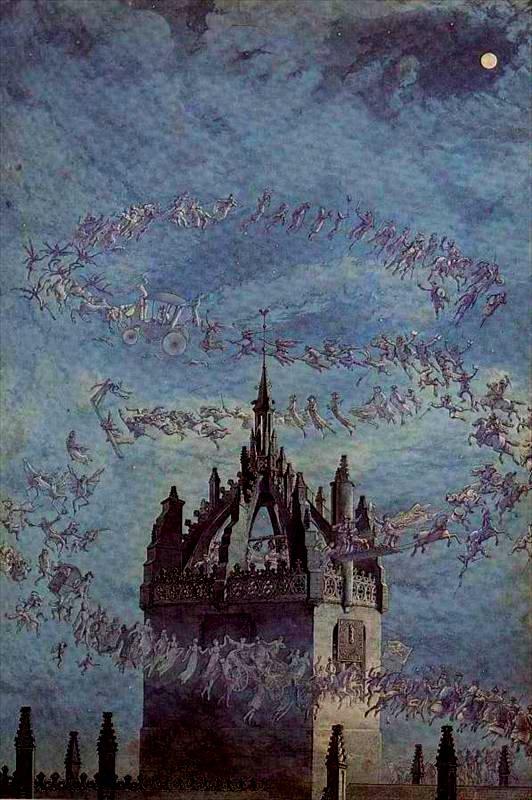 """""""Saint Giles, his bell"""" tableau de Charles Altamont Doyle représentant les fantômes d'Edimbourg, célèbres et inconnus."""
