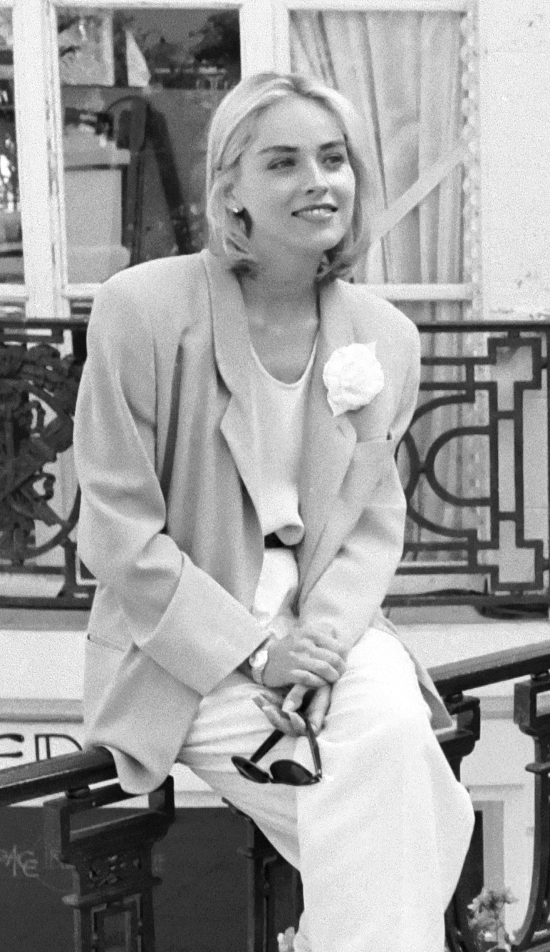 Sharon Stone in 1991, being photographed in France.