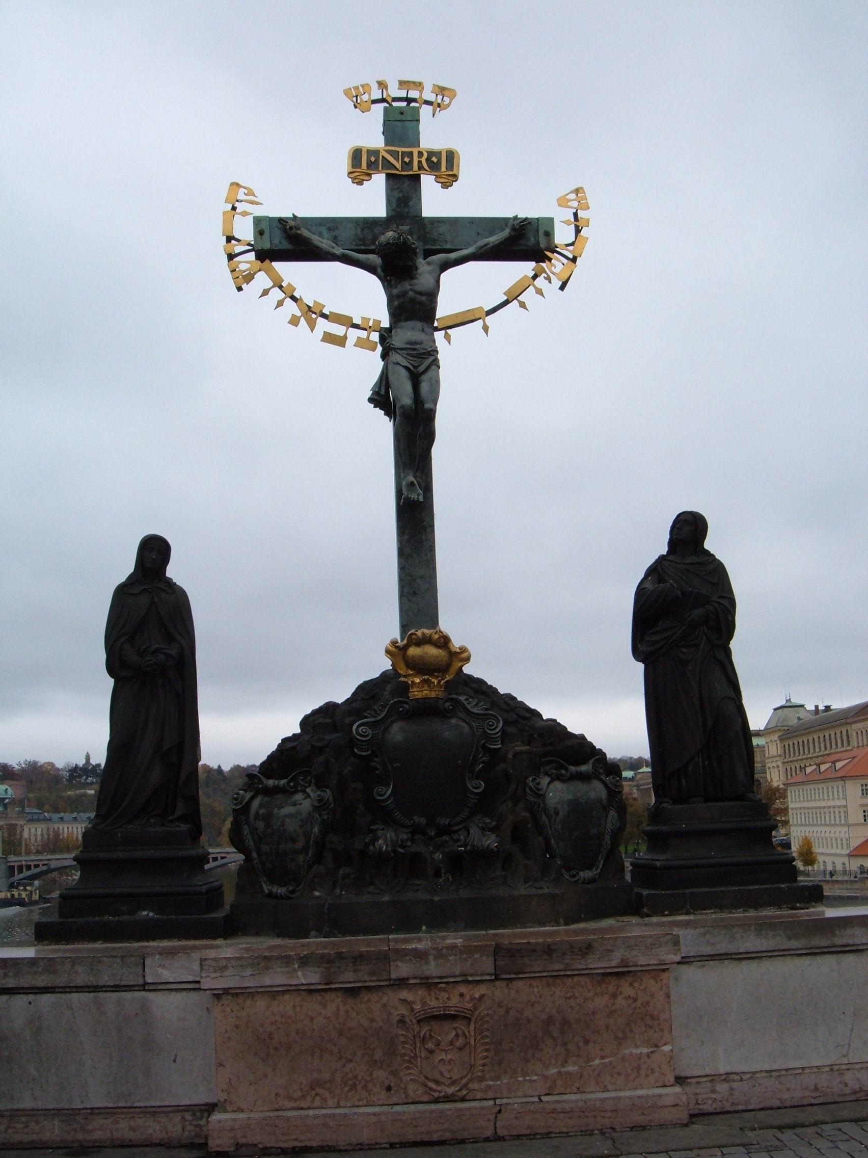 file statue of the crucifix and calvary  charles bridge