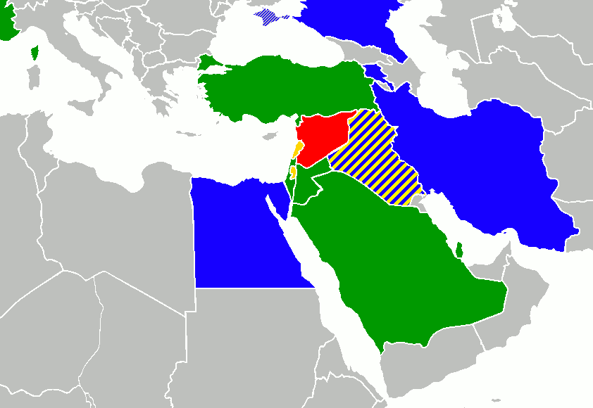 Foreign involvement in the Syrian Civil War map