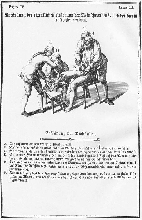 Folterinstrument: Bein Schrauben, spanische Stiefel