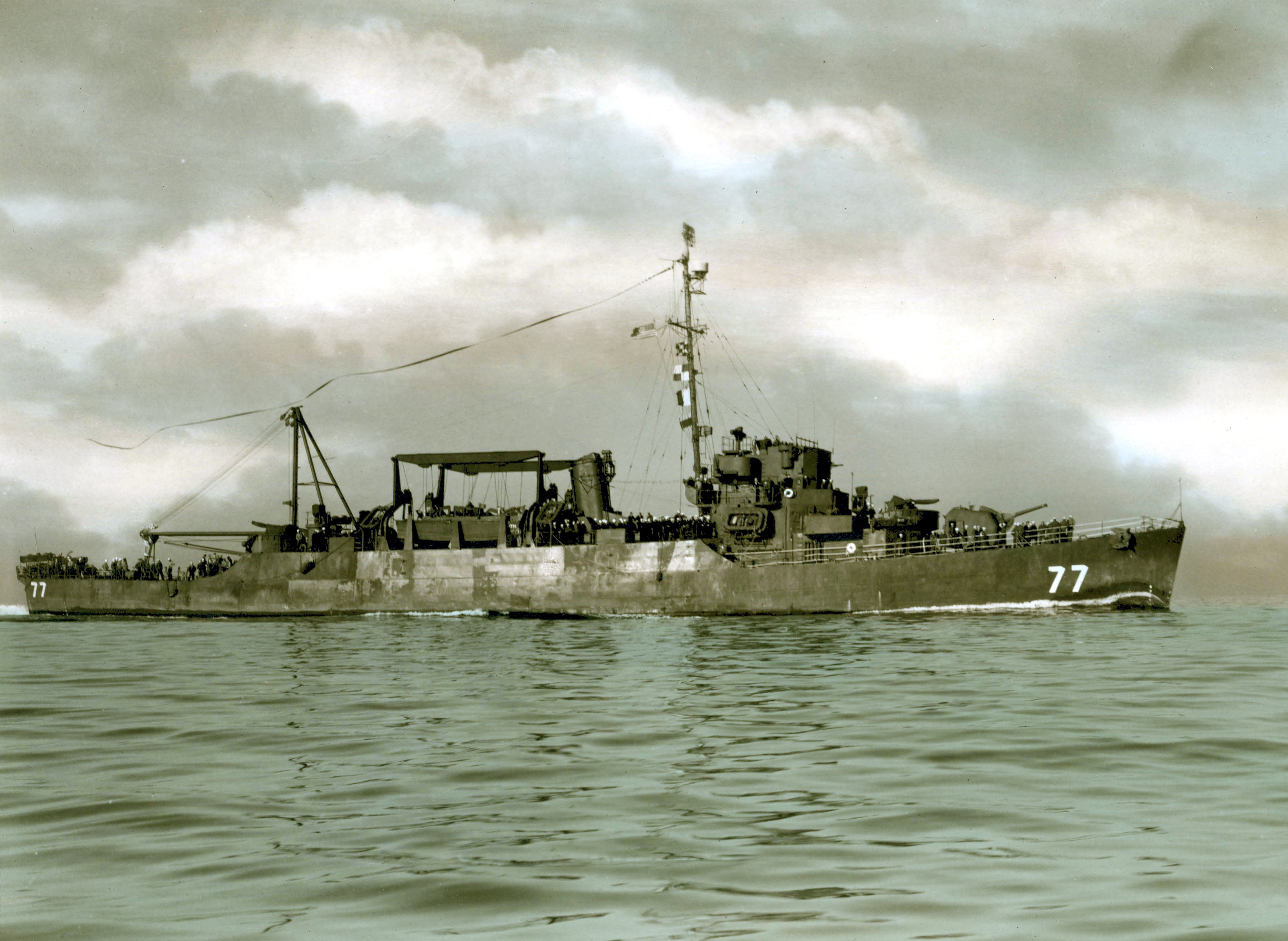USS Frament (APD-77) off San Diego, in January 1946.png