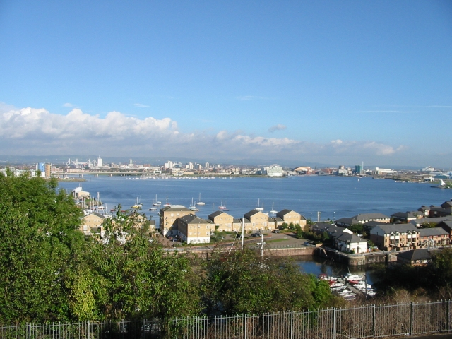 View looking NE across Penarth Flats and Cardiff Bay. - geograph.org.uk - 327301