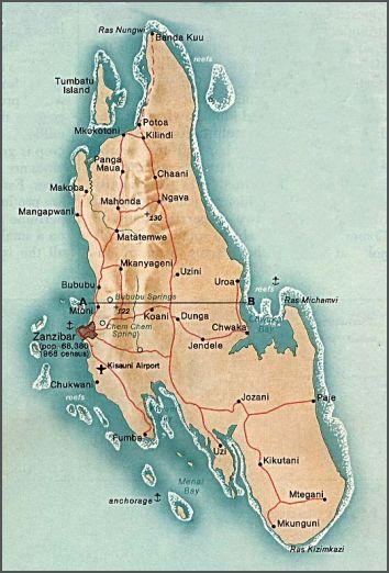 Ostrov Zanzibar u břehů Tanzanie