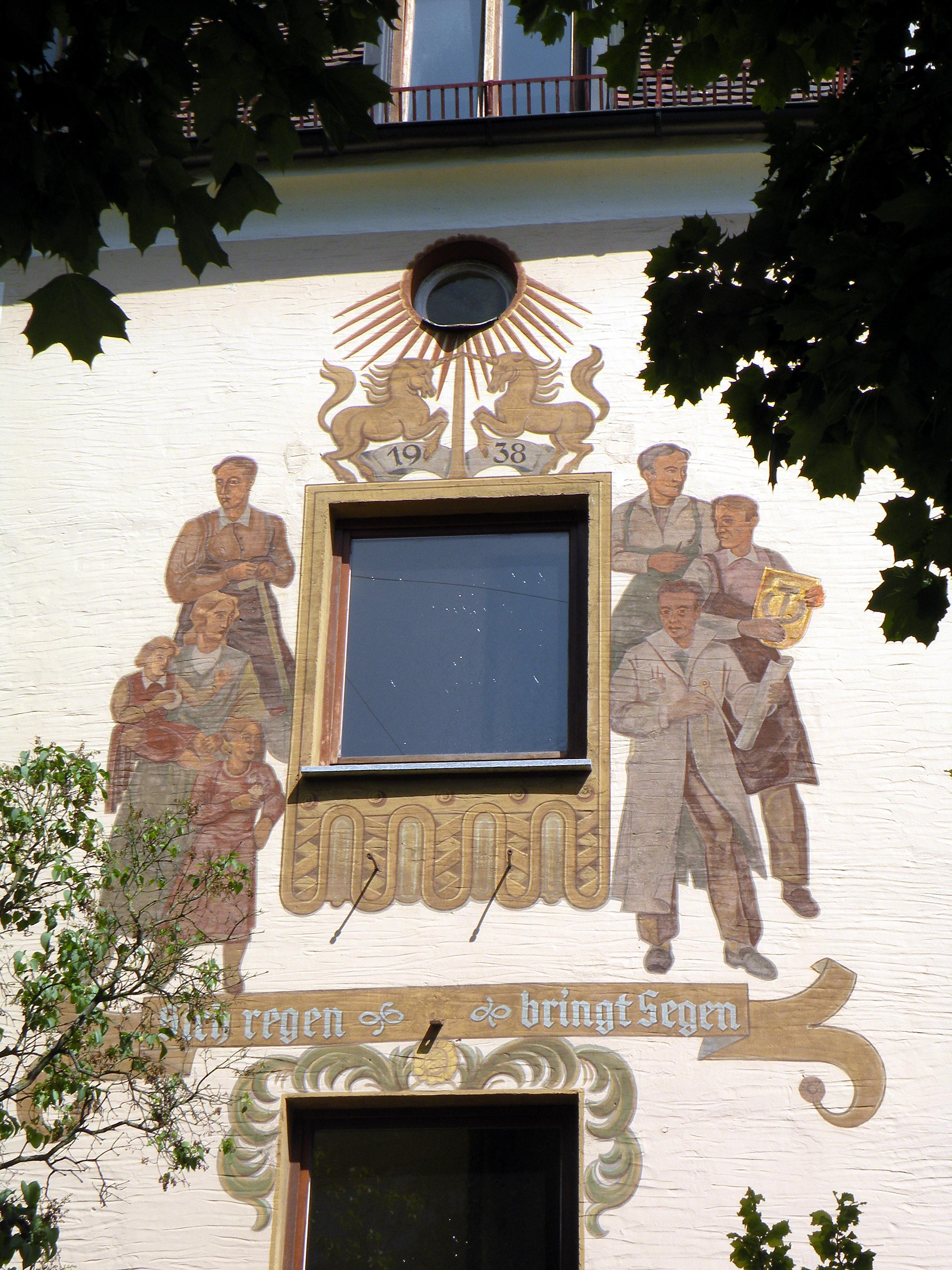 Visual propaganda in Germany, 1938 (Nuremberg, mural). Photos of 2010.