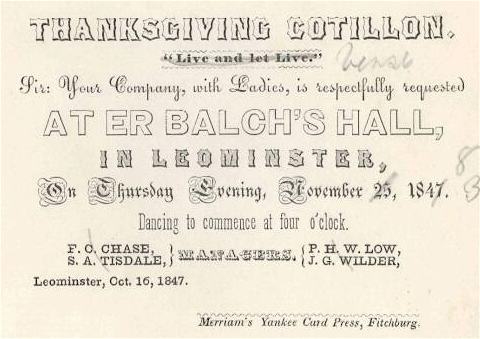 1847 Thanksgiving Leominster Massachusetts