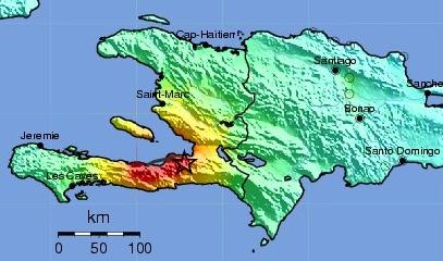 Shake map of 2010 Haiti earthquake