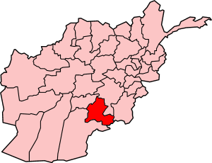 Map of Afghanistan with Zabol highlighted