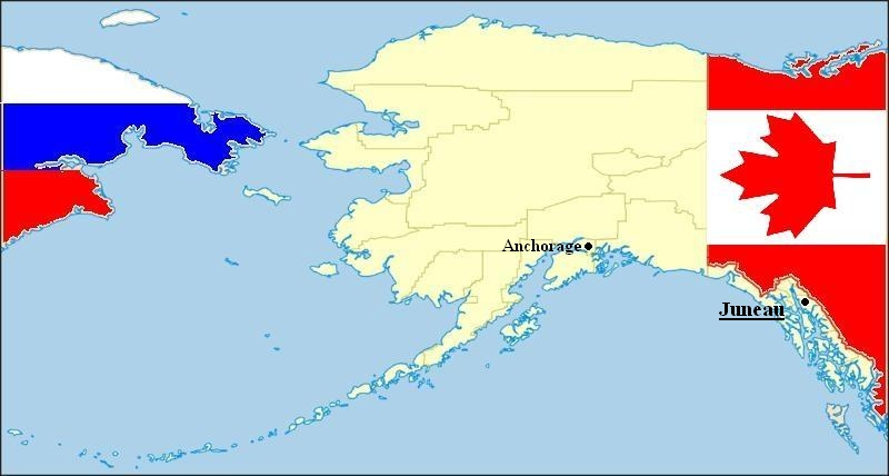 State of Alaska (Russia to the left; Canada to the right)