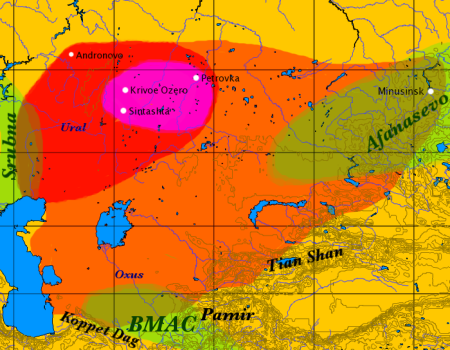 Map of the approximate maximal extent of the Andronovo culture. The formative Sintashta-Petrovka culture is shown in darker red. The location of the earliest spoke-wheeled chariot finds is indicated in purple. Adjacent and overlapping cultures (Afanasevo culture, Srubna culture, BMAC) are shown in green.