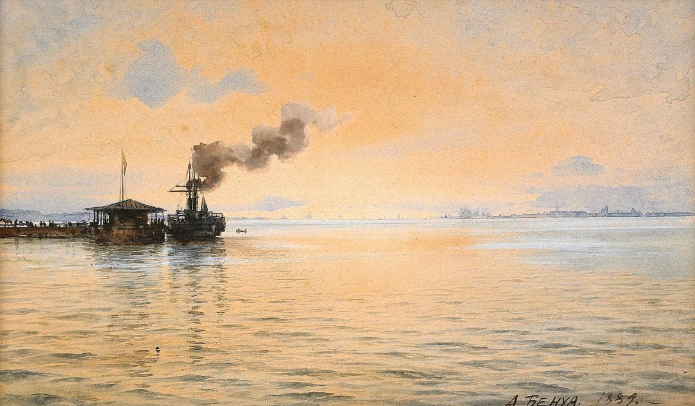 Benoit - View of Kronstadt from a pier at Peterhof 1889.jpg