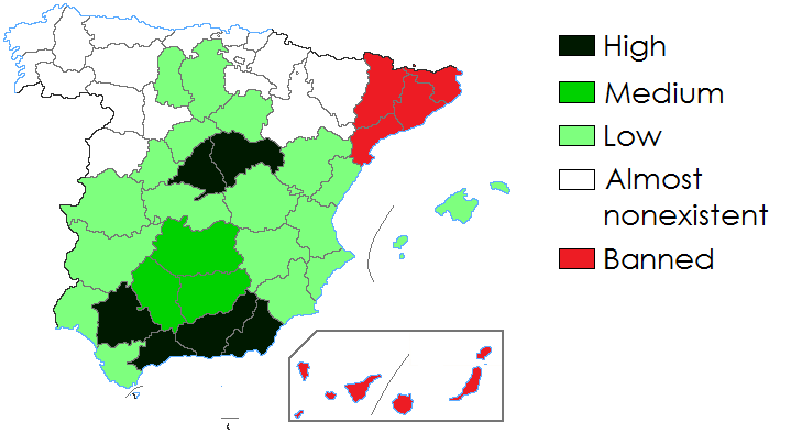 Description Bullfighting in Spain by province.png