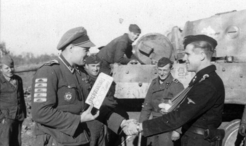 SS-Oberscharführer Adolf Peichl congratulates SS-Oberscharführer Hans Soretz
