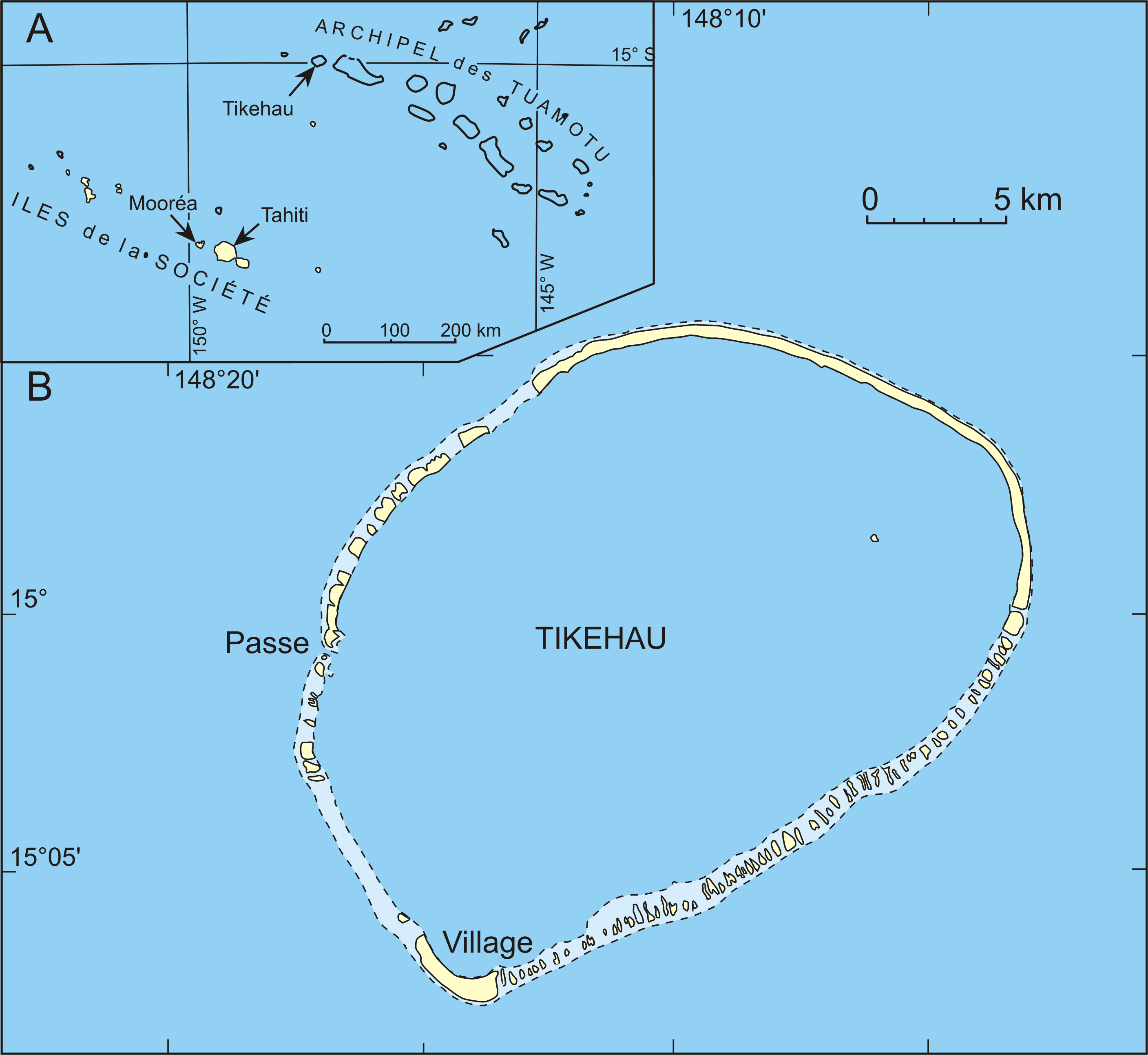 Tikehau Atoll French Polynesia  city photo : Carte Tikehau Wikimedia Commons