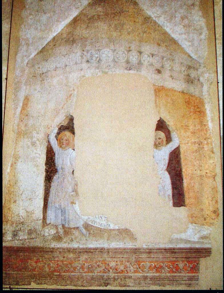 Pier Francesco Fiorentino,Angeli reggicortina(detail),Certaldo, ex chiesa dei Santi Tommaso e Prospero