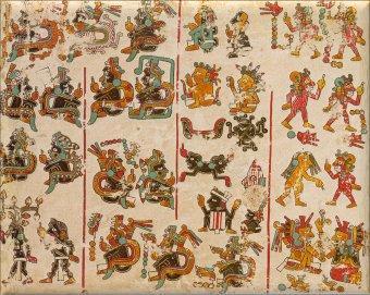 Español: Primera lámina del Códice Vindobonensis. Cultura mixteca, posclásico tardío mesoamericano, Oaxaca (México).
