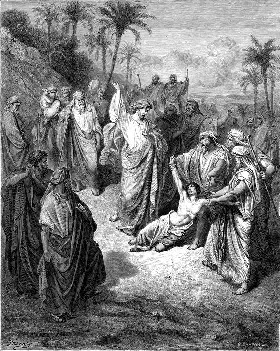 간질병에 걸린 아이를 구하시는 예수님 (귀스타브 도레, Gustave Dore, 1865년)