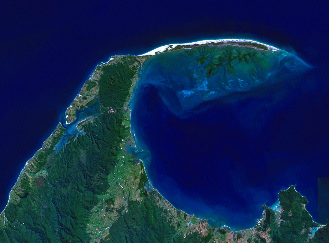 NASA satellite image of Farewell Spit