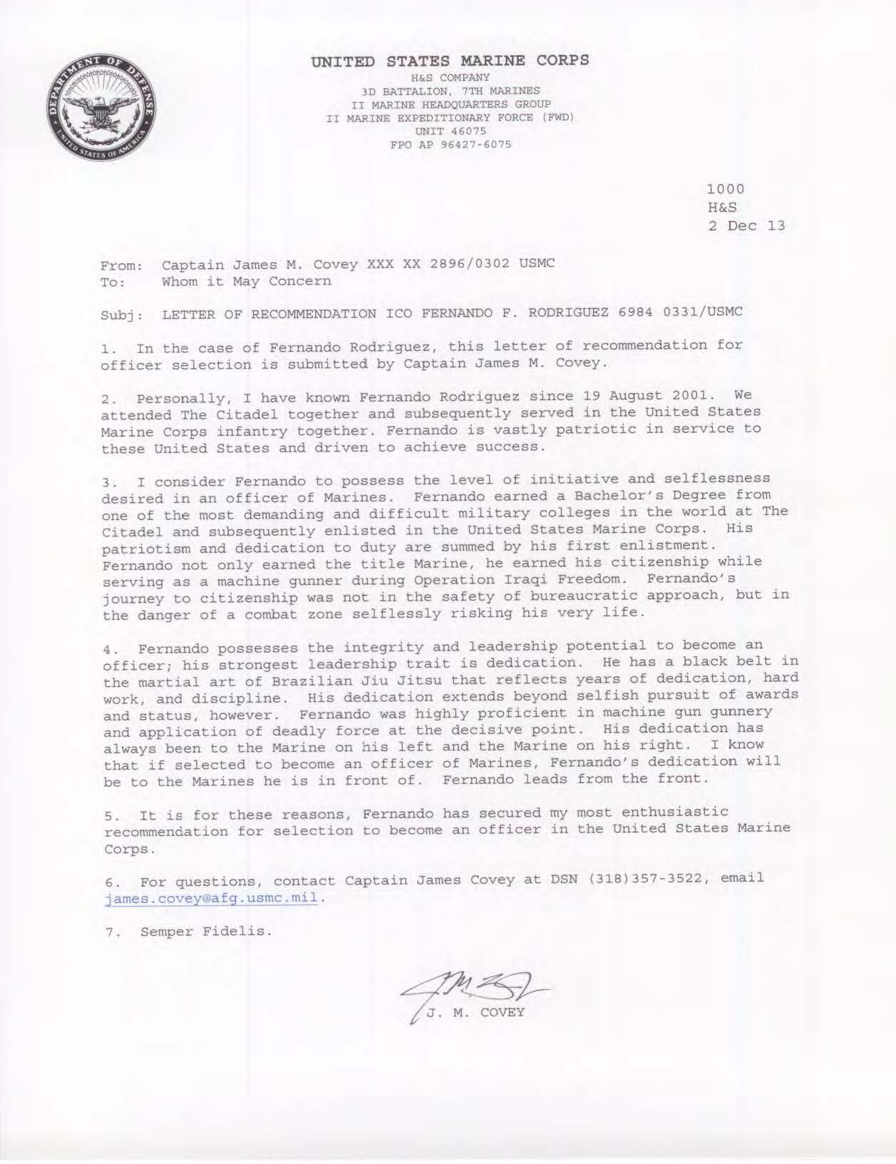 Filefernando f s rodrigues usmc officer letter of filefernando f s rodrigues usmc officer letter of recommendation 4g spiritdancerdesigns