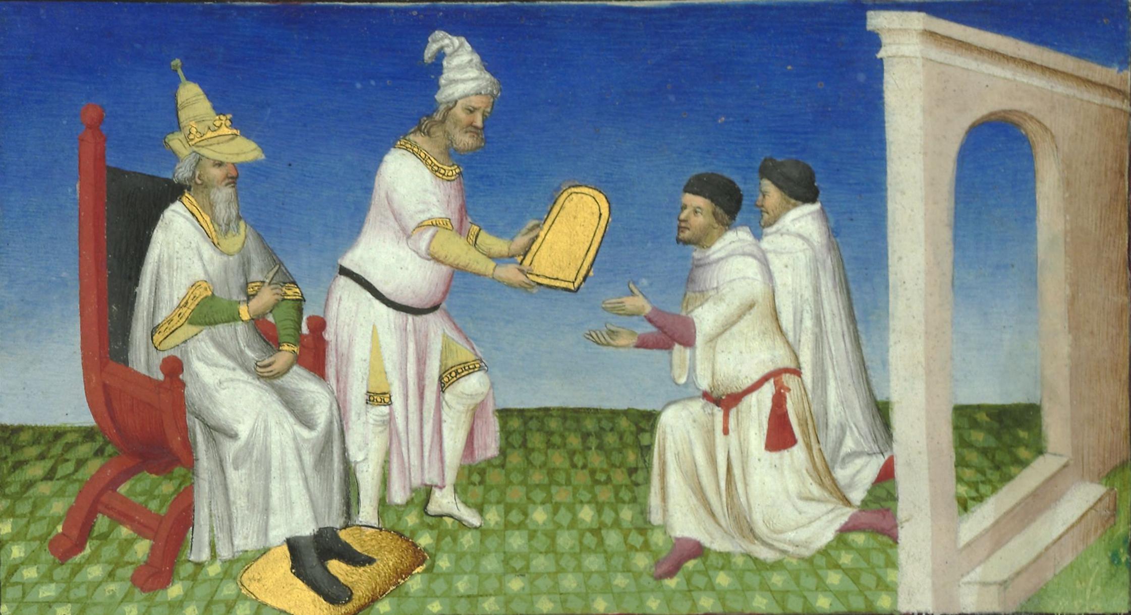 File:Français 2810, fol. 3v, Qubilaï donnant une tablette aux Polo.jpeg